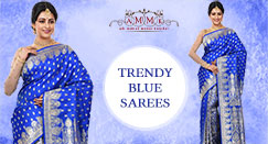Trendy Blue saree for an exclusive party look